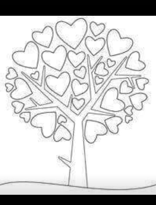 Hearts And Tree Valentine Coloring Heart Coloring Pages