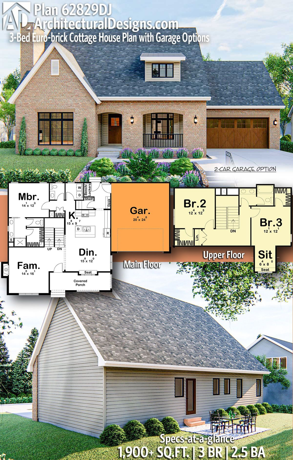 Plan 62829dj 3 Bed Euro Brick Cottage House Plan With Garage Options Country Cottage House Plans Brick Cottage House Plans