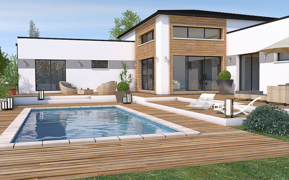 Modèle de maison moderne en L #LesMaisonsAura #modele #maison Les - modele de construction maison