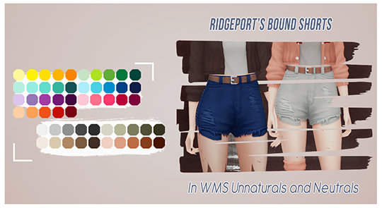 "tranquilitysims: "" ""@ridgeport's bound shorts recolored"