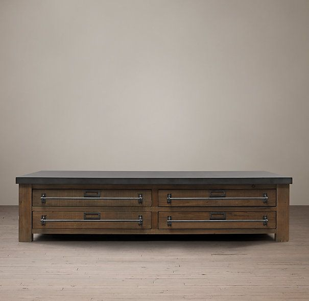 Merveilleux Mercantile Coffee Table Built From Reclaimed Pine With Metal Wrapped  Plywood Tops In Aged Zinc Finish Intensive Multi Step Finishing Process  Results In A ...