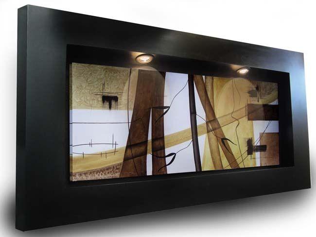 Cuadro expression brown con iluminaci n y marco art marcos luces moderno - Iluminacion para cuadros ...