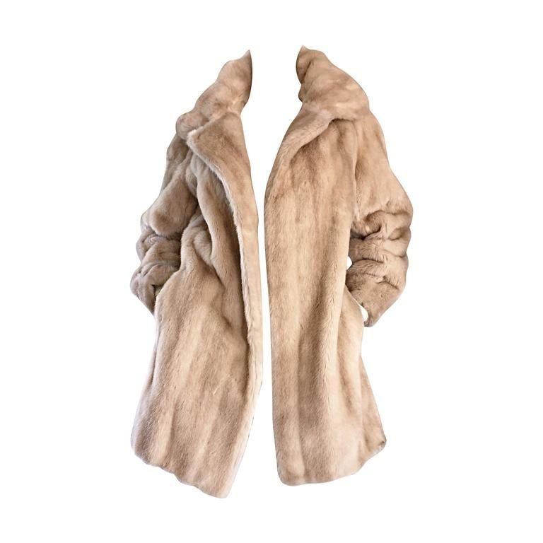 4446301d797 Incredible Vintage Lilli Ann 1960s Faux Fur Blonde Tan 60s Swing Jacket Coat