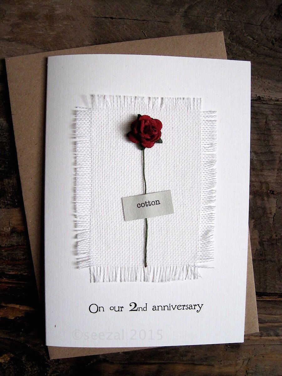 2nd Anniversary Keepsake COTTON Card. Cotton Fabric with a