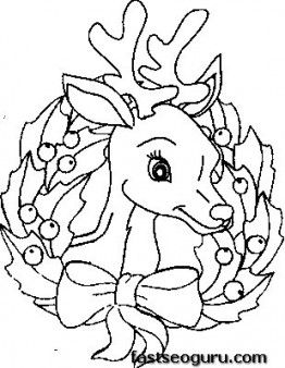 Printable Coloring Pages Of Christmas Reindeer Face Fargelegge Tegninger Av Merry ChristmasSleigh