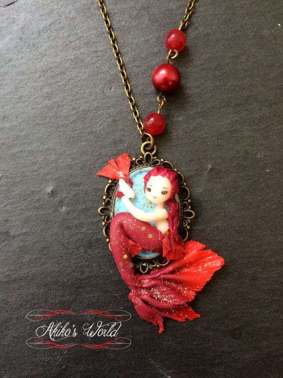 Tiny Red Mermaid On Her Cameo Unique Necklace Model
