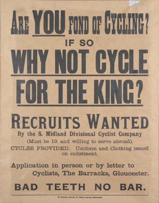 British Army cyclists recruiting poster WWI - Army Cyclist Corps - create a wanted poster free