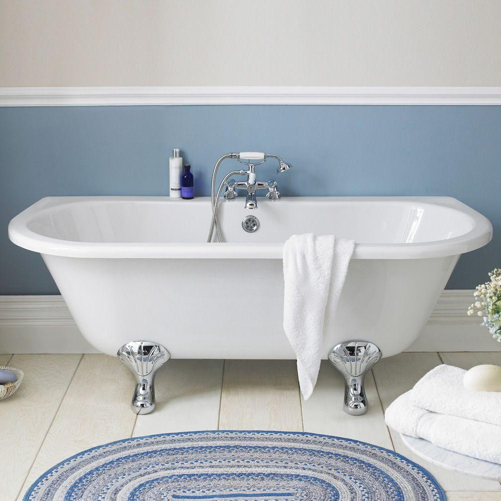 Freistehende badewanne klassisch mit füßen oval 1700 x 750 mm
