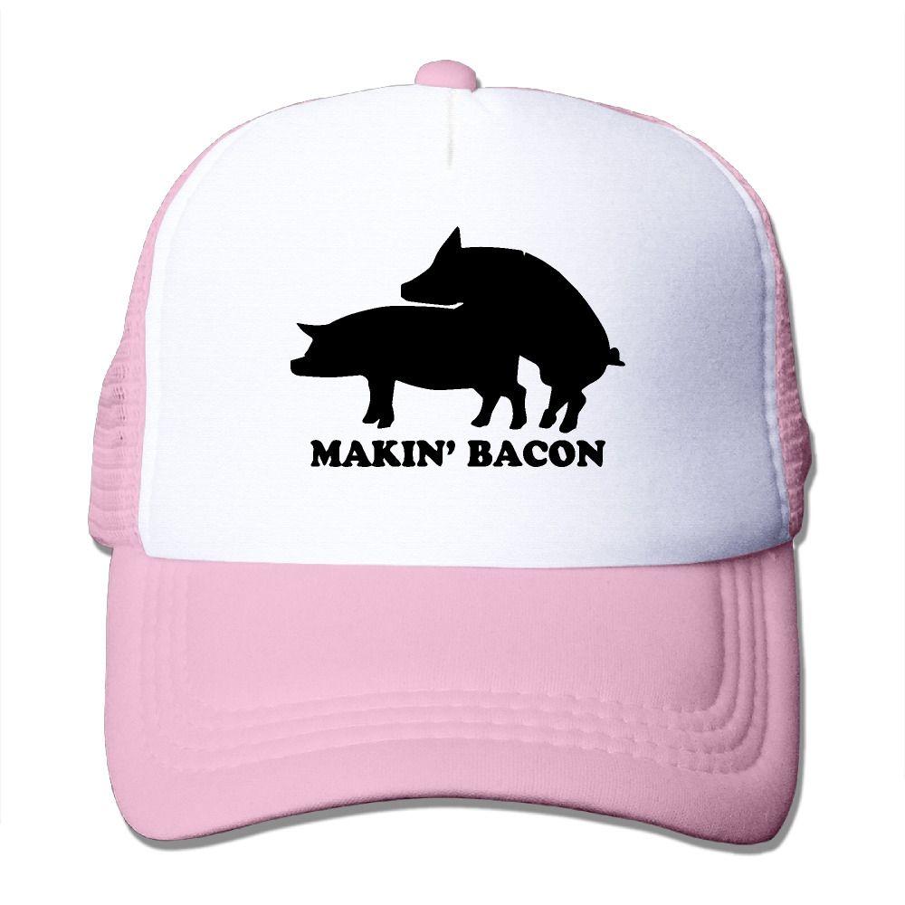 1981ab1df76b1 Summer Unisex Makin Making Bacon polyester Mesh Hat Vintage printing baseball  Hats Adjustable caps