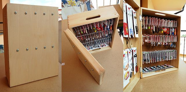 Earring display made from wooden box