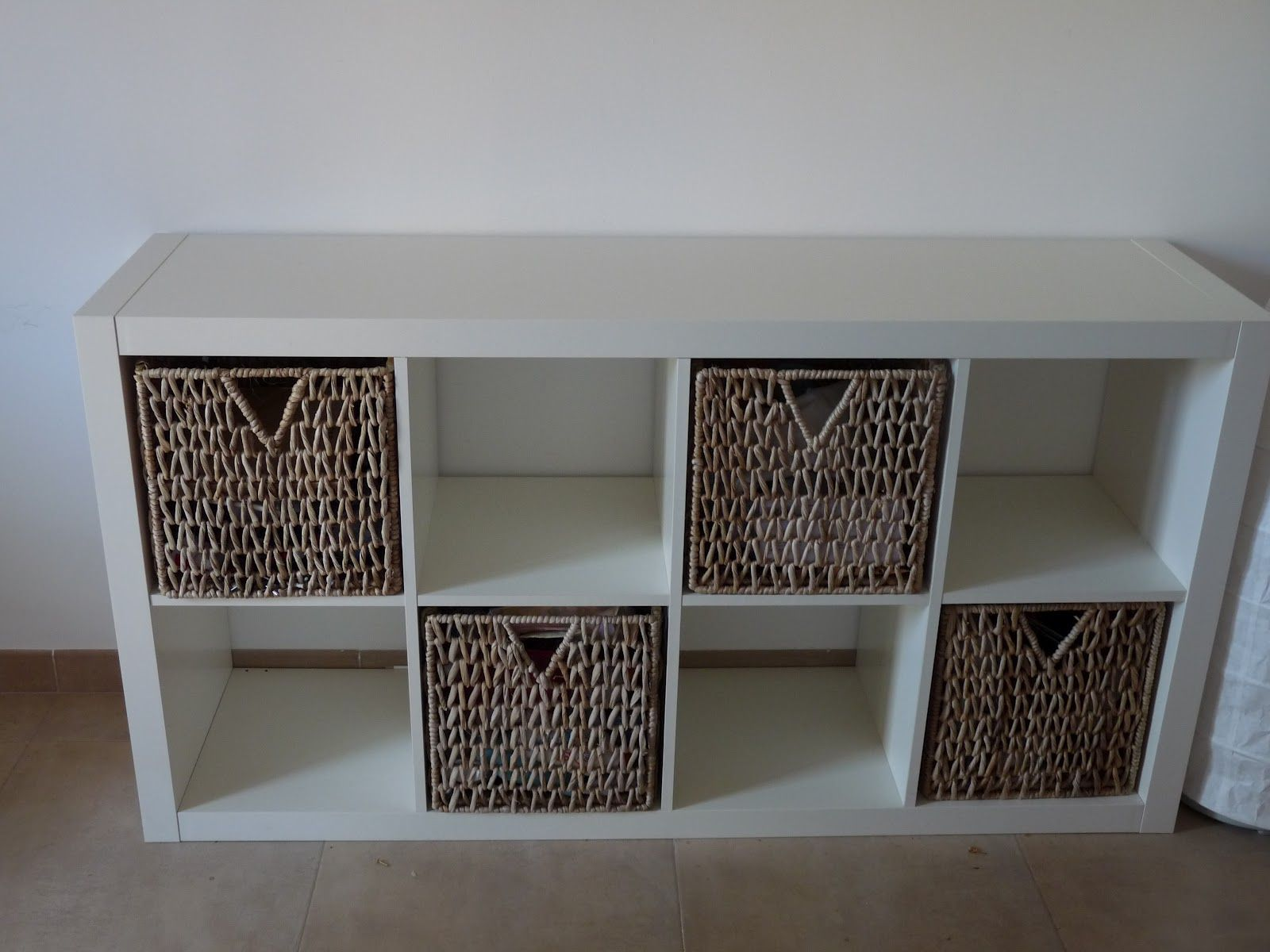 storage bookshelves with baskets