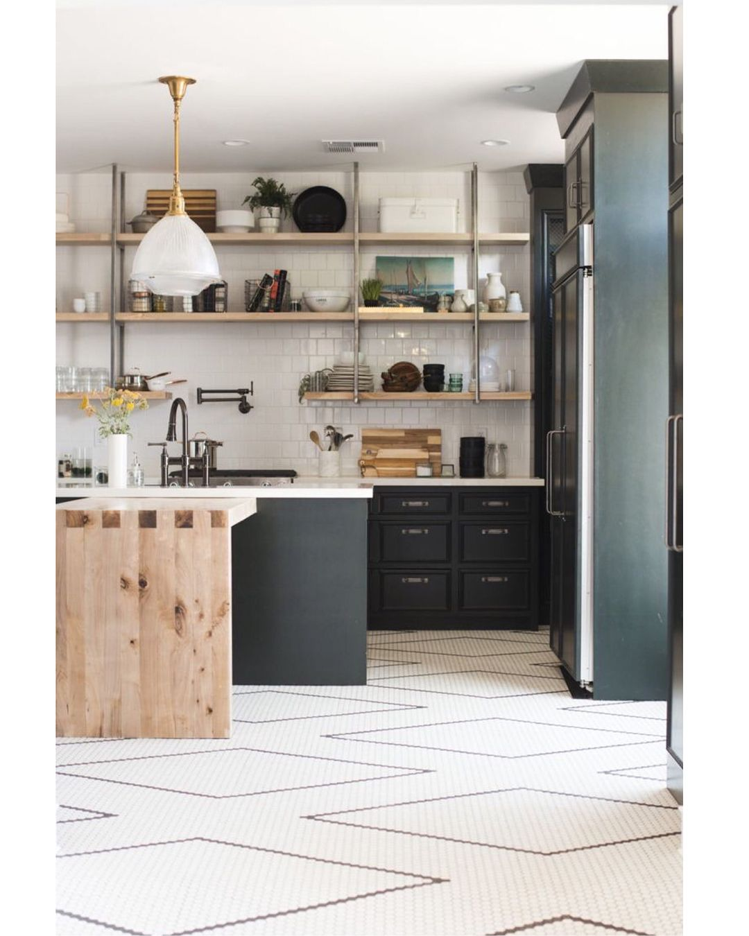 Such An Amazing Kitchen I Love How She Made The Tiles Into A Big Scale Diamond Pattern So Cleve Kitchen Floor Tile Green Kitchen Cabinets White Kitchen Floor