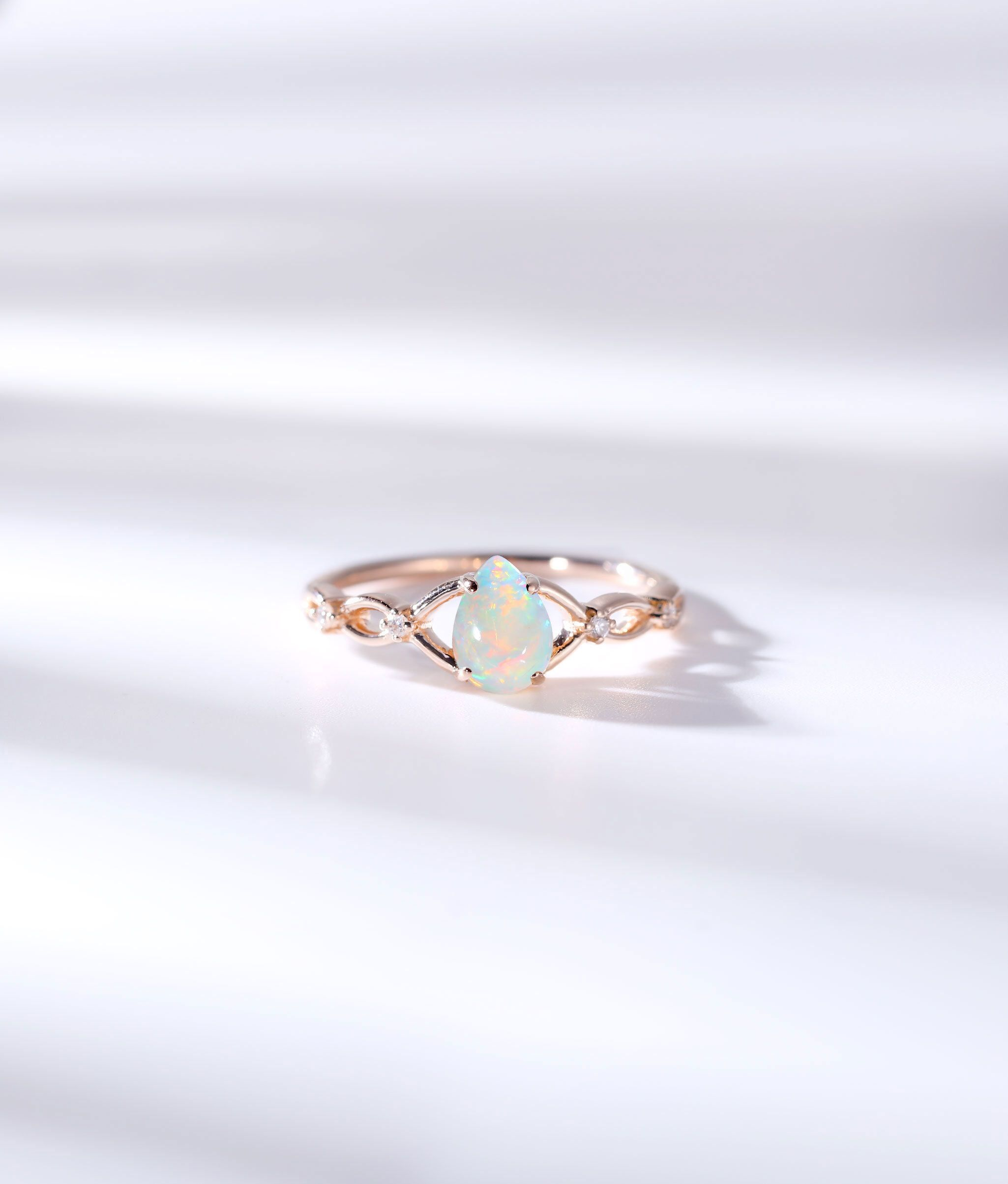 Pear shaped Opal engagement ring for women diamond celtic ring vintage rose gold wedding promise art deco unique anniversary gift for her Pear shaped Opal engagement ring...