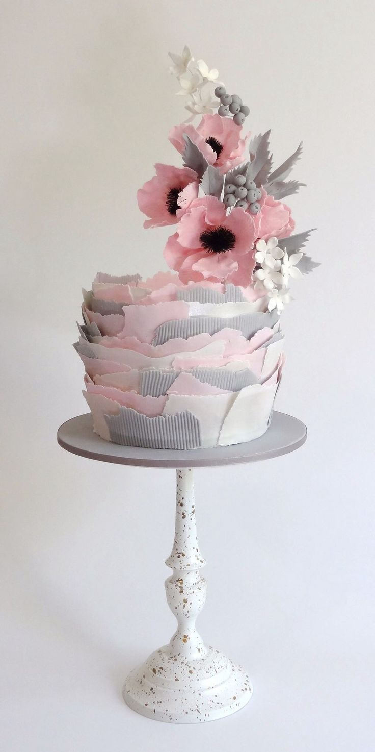 Torn paper cake  Torn paper and elevated flowers  Inspired by