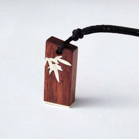 Eco friendly sterling silver bamboo inlay rosewood stamp Asian inspired necklace 002