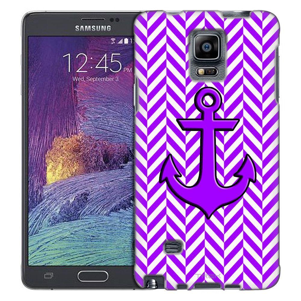 Samsung Galaxy Note 4 Anchor on Chevron Mini Purple White Slim Case