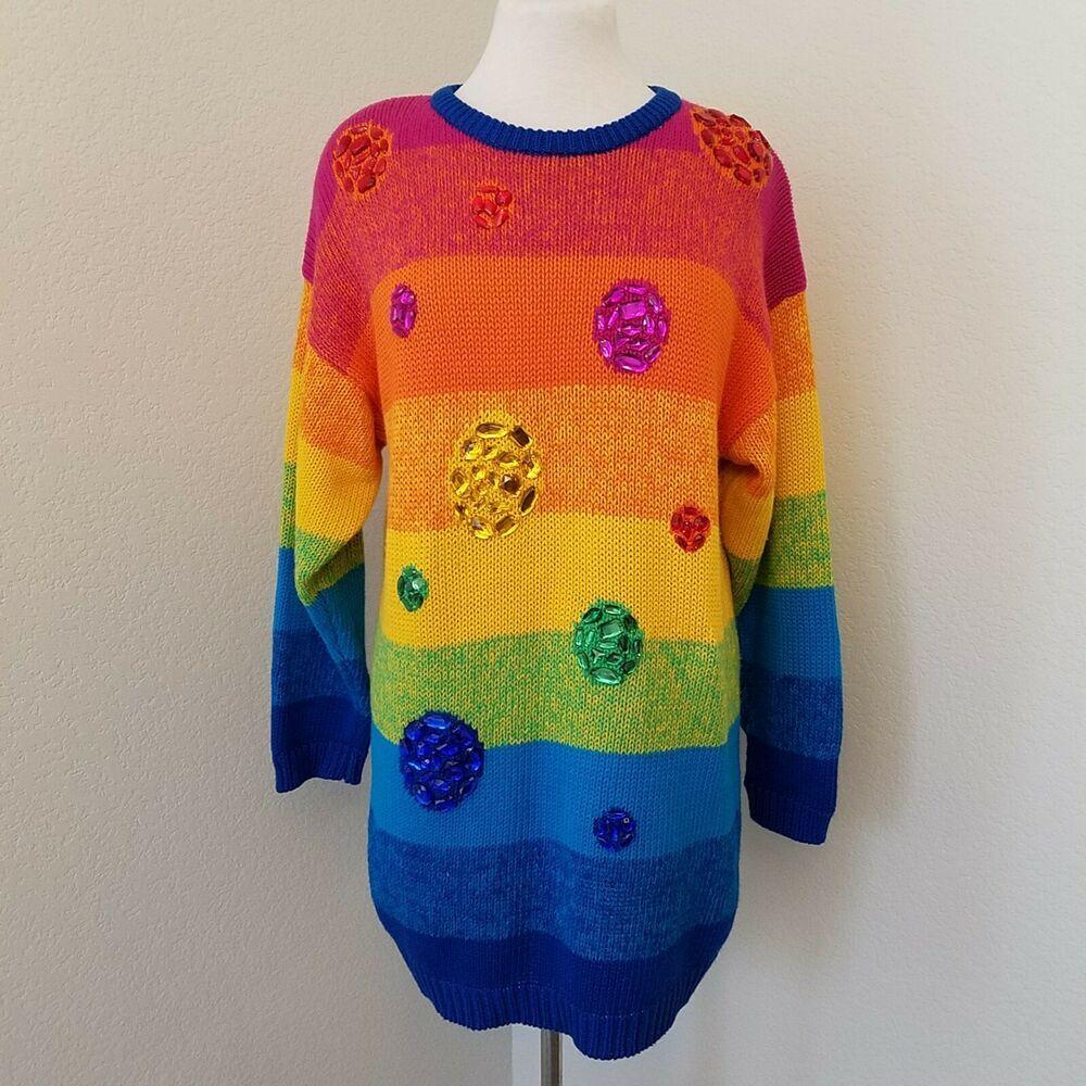 Vintage IB Diffusion Sport Womens Size Medium Jewels Rainbow Striped Sweater   IBDiffusionSport  Pullover  Casual 6f991e5c2