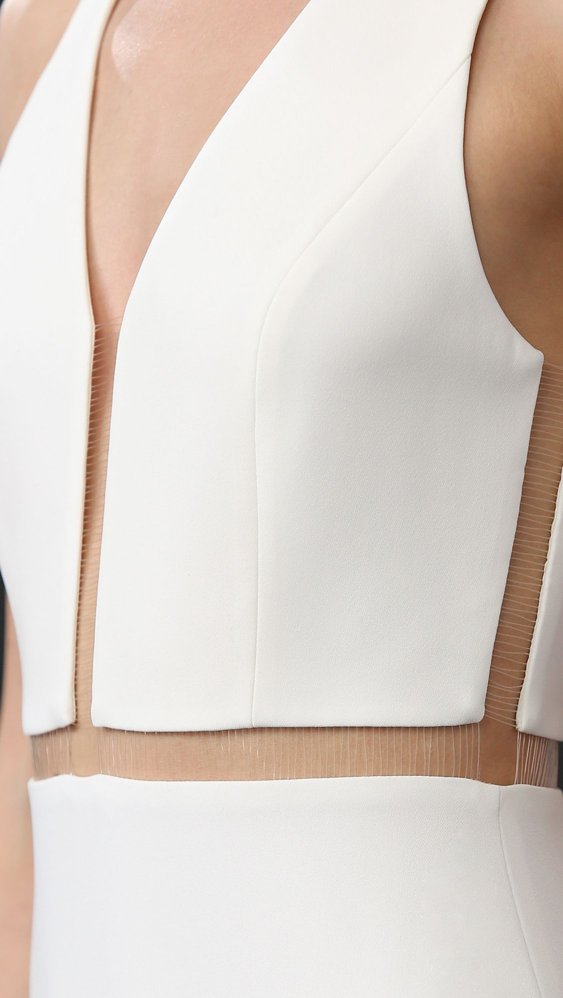 Alexander wang white v neck gown with fishing line detail for Alexander wang wedding dress
