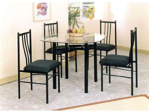 Charmant Metal Dining Table U0026 Chairs Set Black Finish   Click Pics For Price