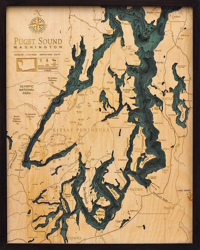 Puget Sound Washington 3D Nautical Wood Chart Large 245 x 31