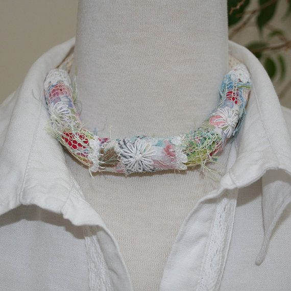 Pastel Necklace  twisted textile strips with by Lynwoodcrafts, £17.00