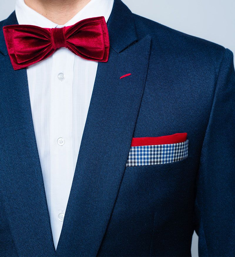 Navy Blue Suit Red Bow Tie With a red velvet bow tie