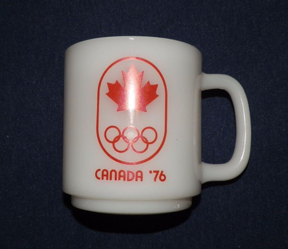 Vtg Glasbake 76 Olympics Milk Glass Coffee Cup Mug D