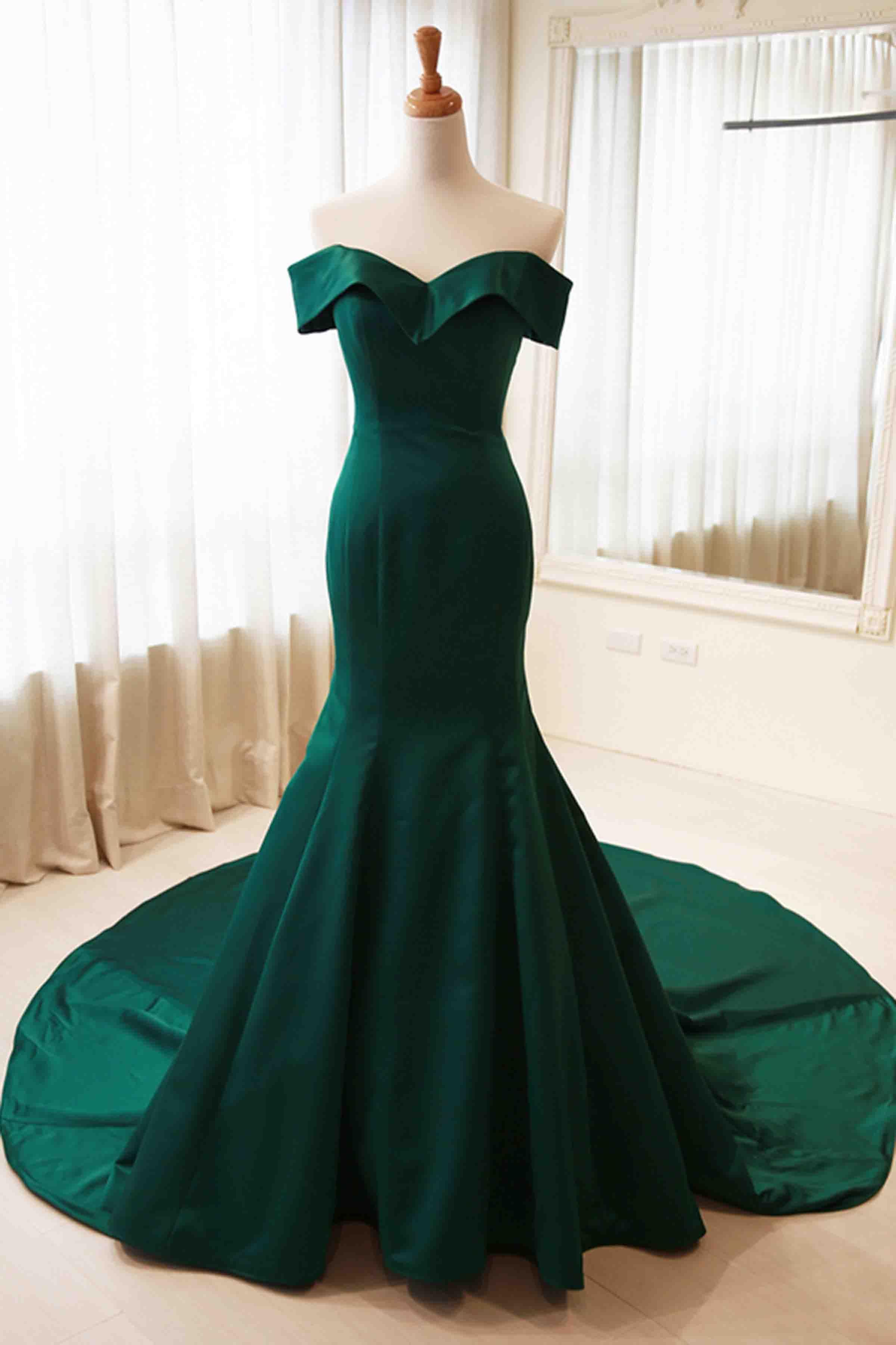 Green satin mermaid prom dress, ball gown, elegant off the shoulder ...