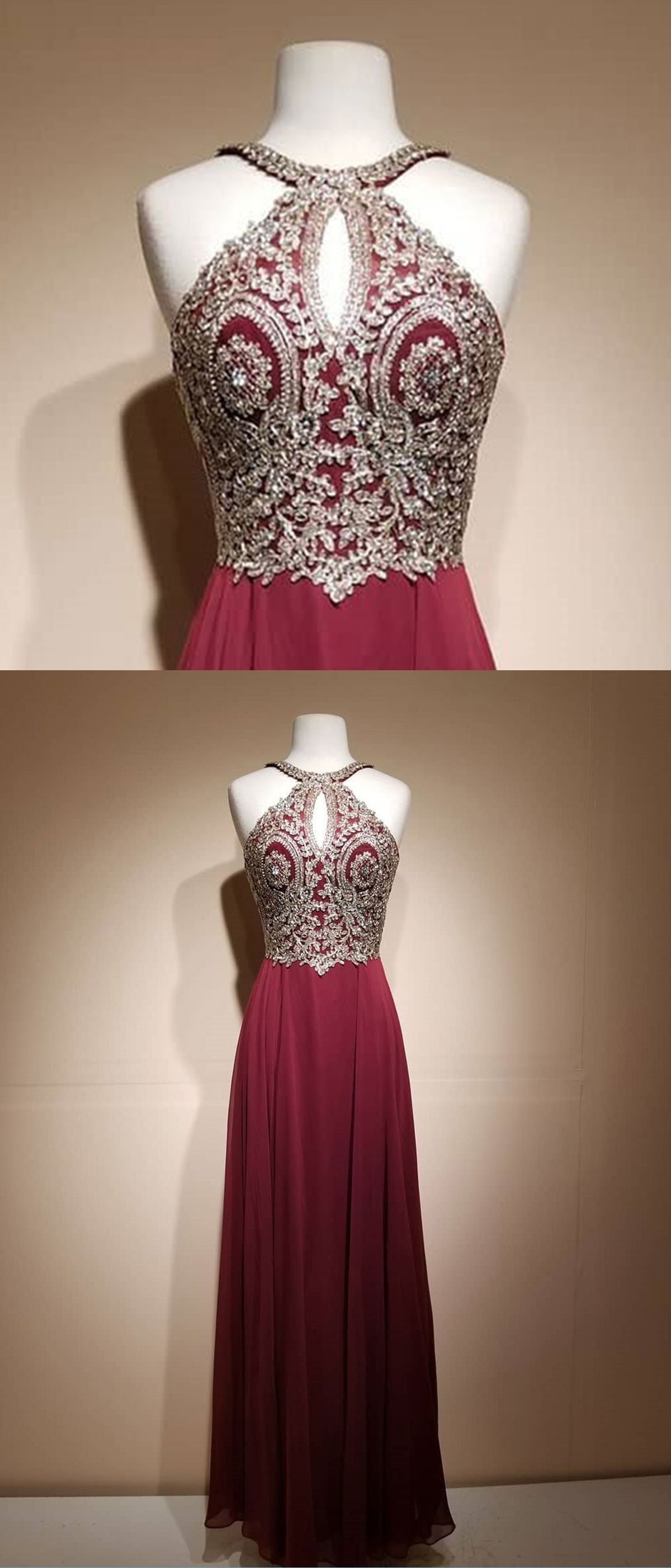 Elegant burgundy chiffon long open back evening dress long gold