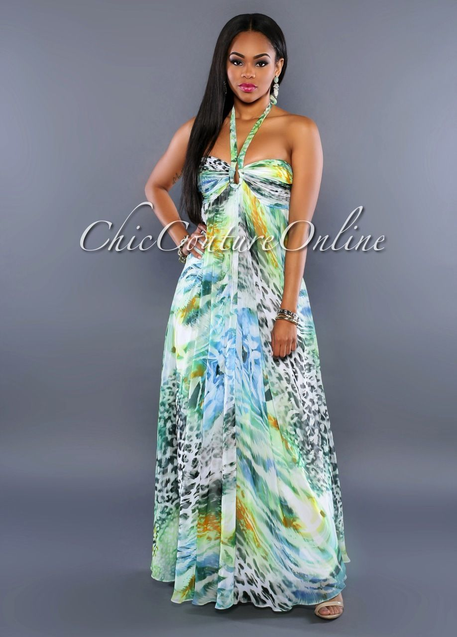 Chic Couture Online - Avani Green Multi-Color Print Halter Maxi ...