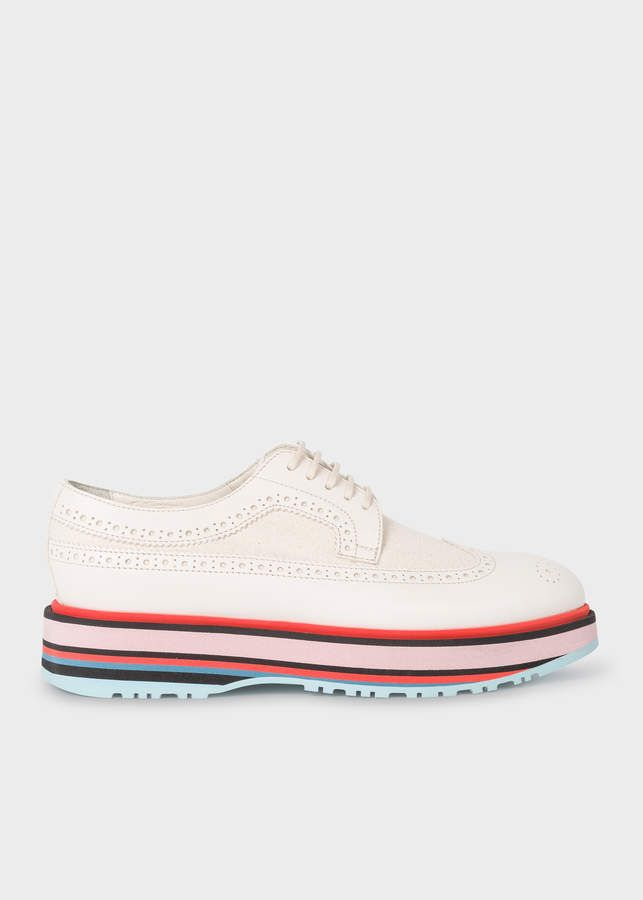 7be28411a2 Paul Smith Women's Off-White Leather 'Grand' Brogues With Striped Soles