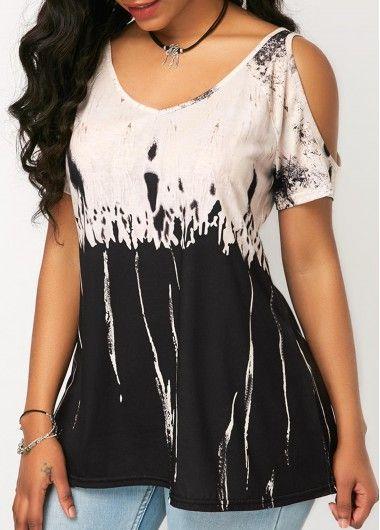 2a5de99963983 Ruched Rhinestone Embellished Cold Shoulder Black T Shirt