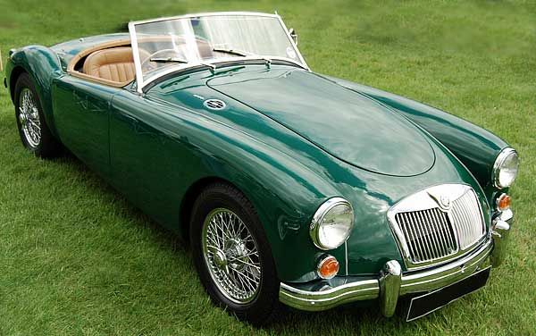 Although MG never offered the MGA in British Racing Green, it looks ...