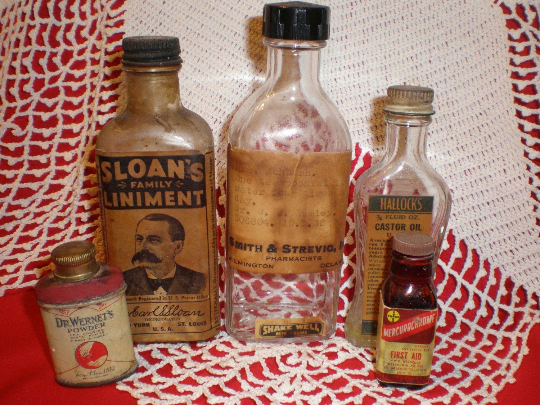 Absolute ethyl alcohol bottle vintage chemical bottle science lab - Vintage Medicine Bottles From The 1930s Sloans Liniment Hallocks Castor Oil Mercurochrome Dr Wernets Powder For Dentures Prescription