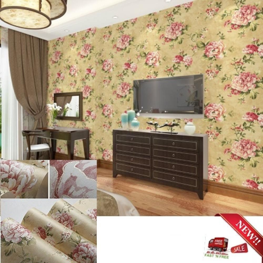 Vintage Rose Flower Wallpaper Tan Pink Decor Bedroom Living Room ...