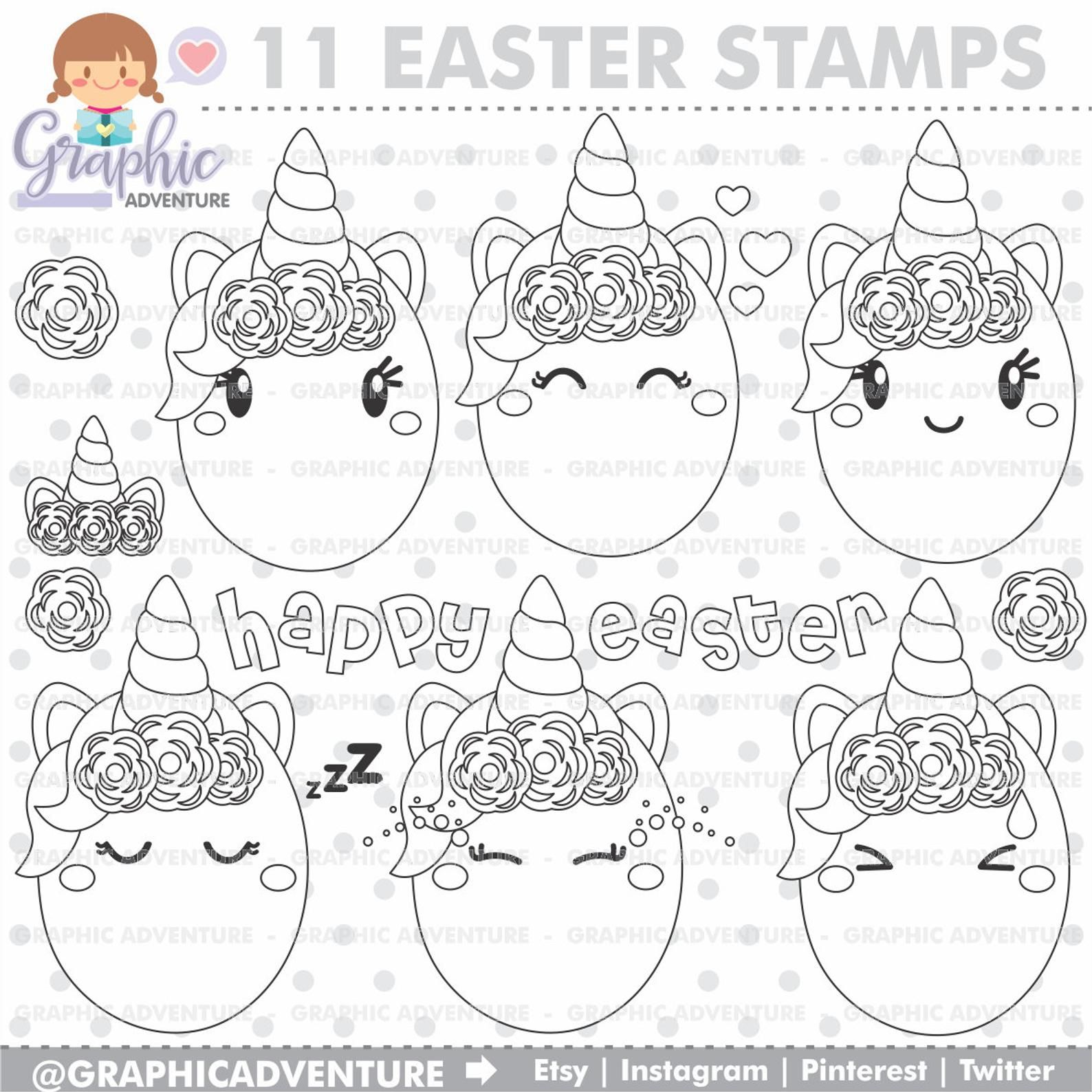 Easter Stamps Unicorn Stamps Easter Eggs Stamps Commercial Etsy Egg Stamp Spring Stamps Unicorn Coloring Pages
