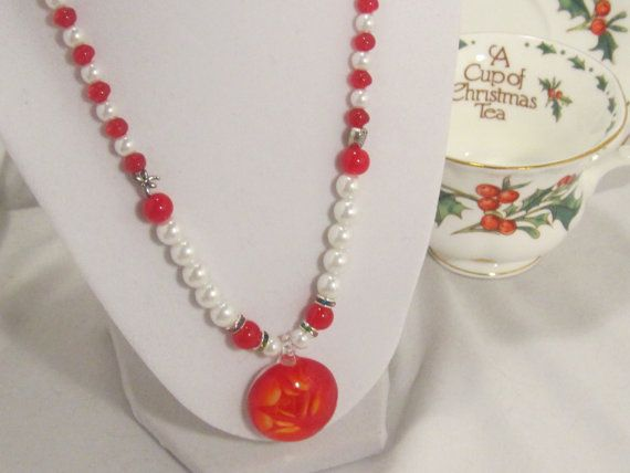 Red Rose Pendant with White Pearl and Red by BeverlyAnnsJewelry