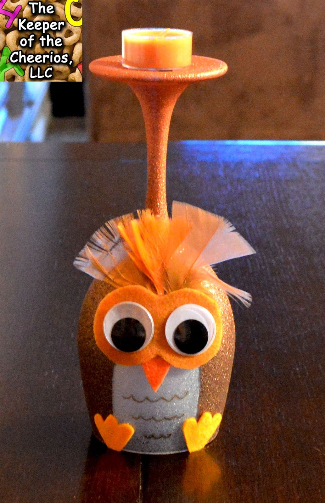 The keeper of the cheerios owl wine glass candle holder for Wine bottle candle holder craft