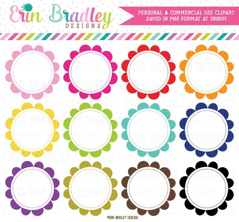 Scalloped Circle Frames Clipart Instant Download Digital Clip Art Graphics Personal Commercial Use In 2021 Circle Frames Clipart Digital Clip Art Graphics Frame Clipart