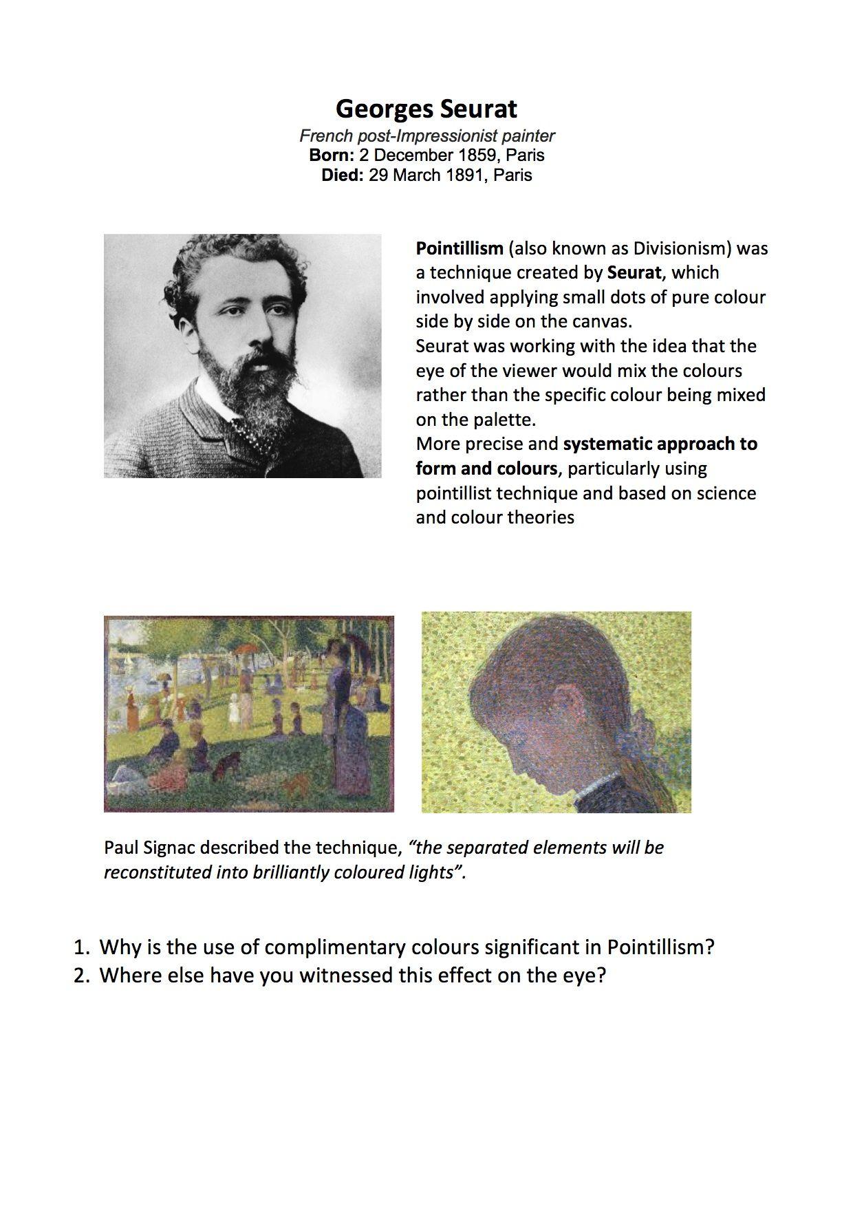 Georges Seurat Ppt Worksheet