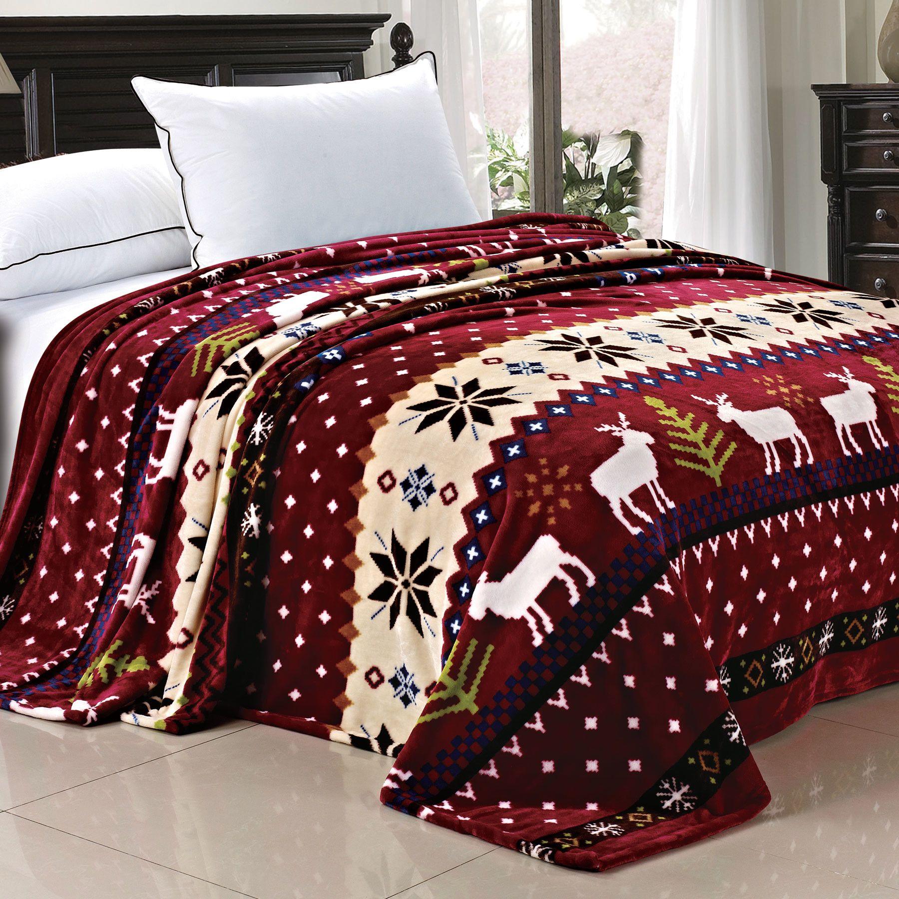 Christmas Snowflake Deer Fleece Throw Blanket