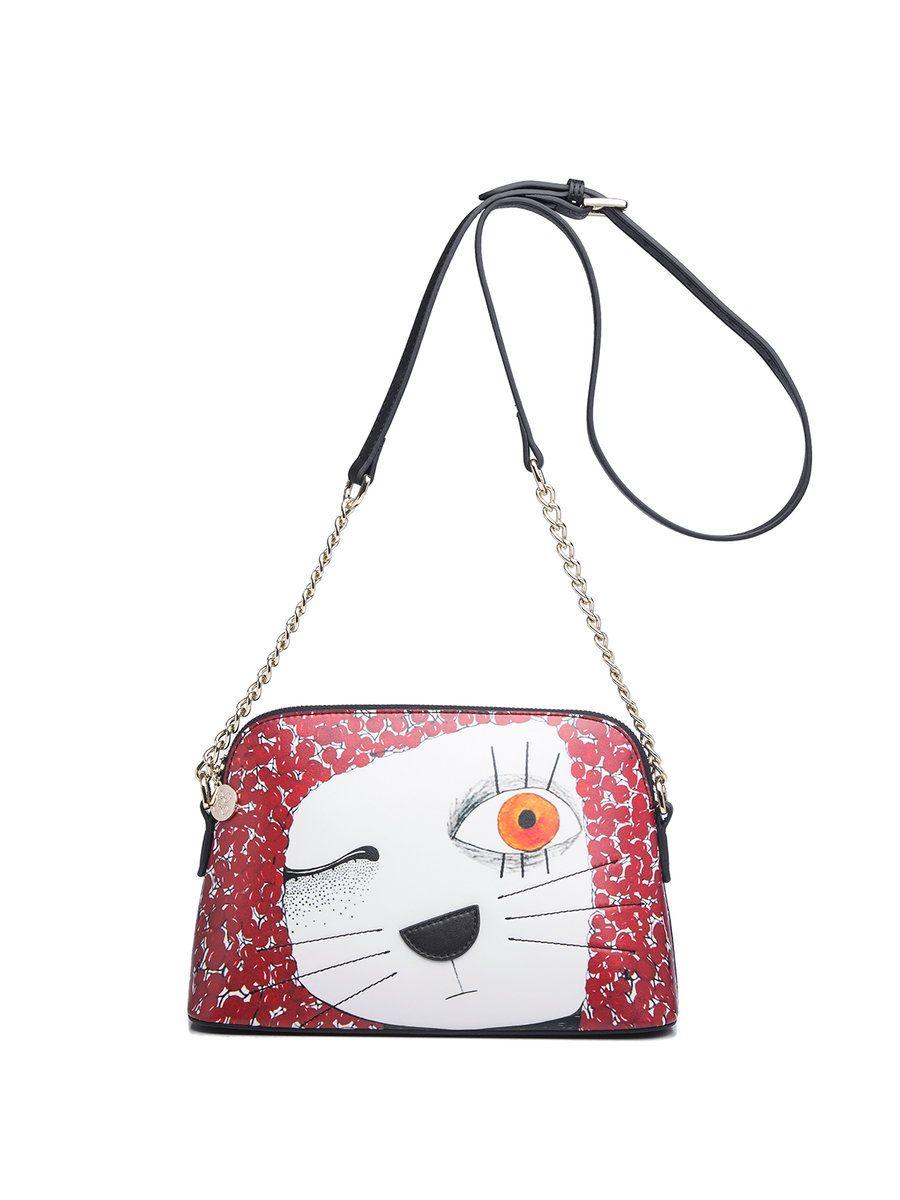 AdoreWe  StyleWe QIANBH Red Cat Printed Cowhide Leather Zipper Cute  Shoulder Bag - AdoreWe a57e101f6ba65