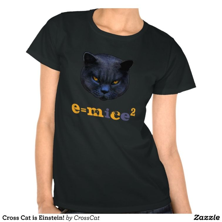 Cross Cat is Einstein! E=Mc2 or is that E=Mice2  Clever Cross Cat! #crosscat #cats #einstein #geek #nerd #geekgifts #blackcats #e