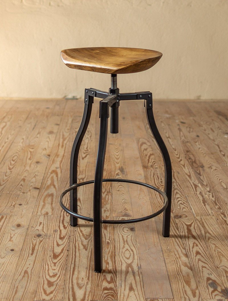 Quarry Hand Forged Iron Stool With Sculpted Wood Seat Iron