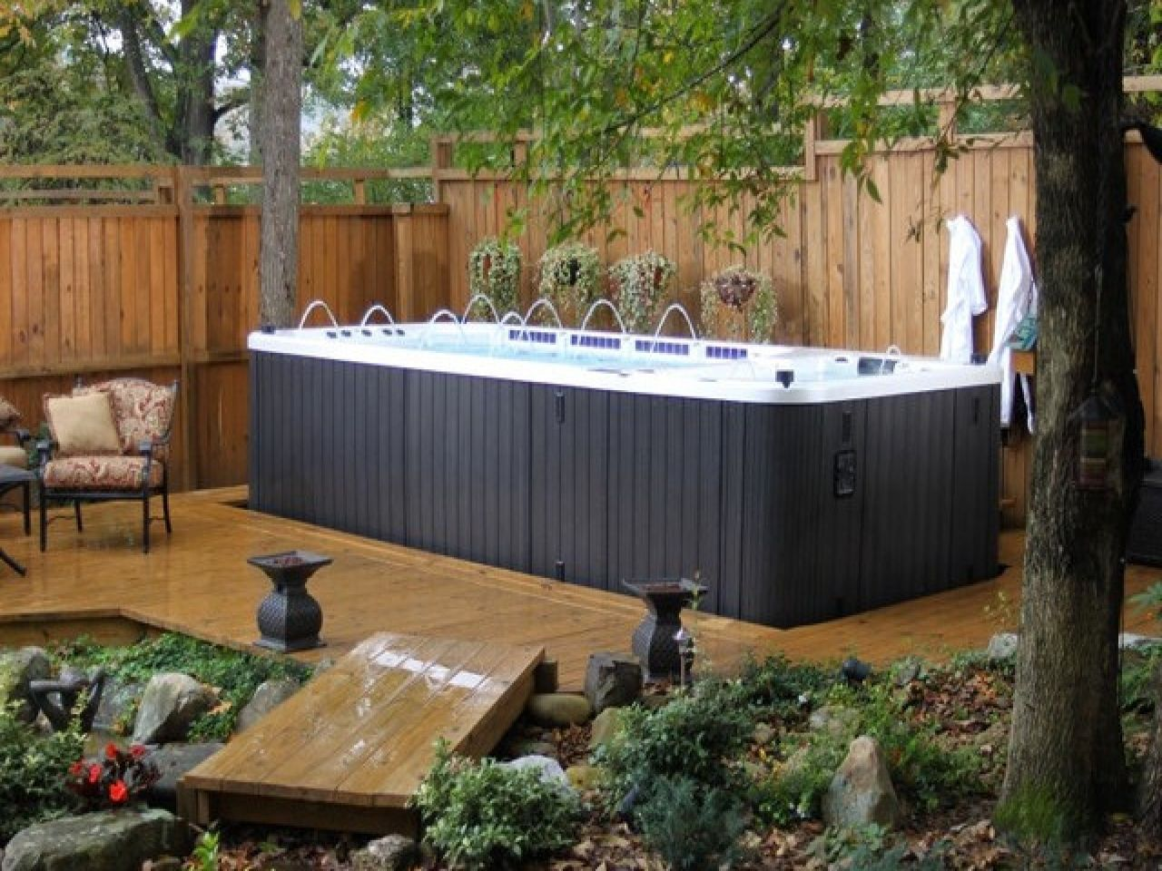 Zen Small Backyard Ideas Back Yard With Swim Spa Cfbde Surripui