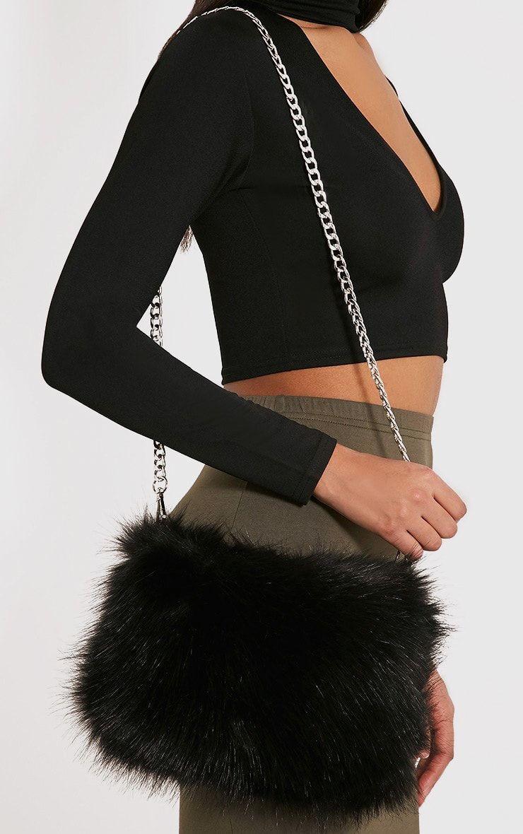 64d7d6623e Christah Black Faux Fur Chain Shoulder Bag