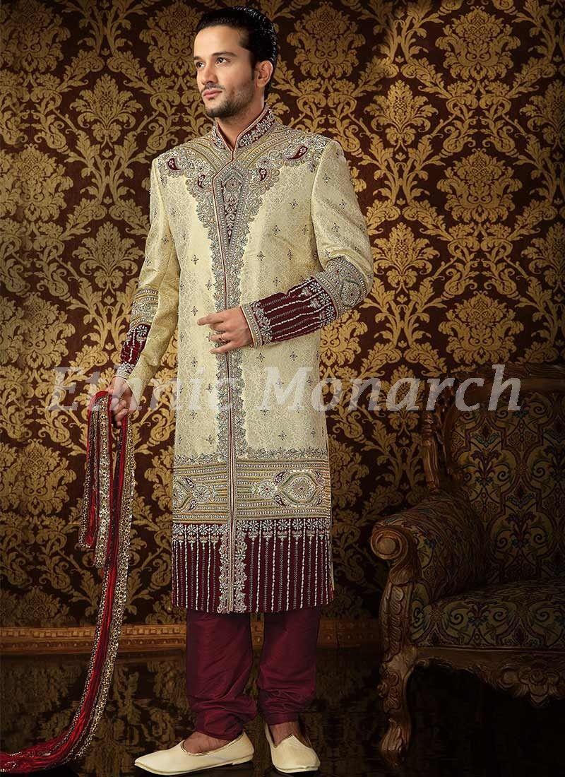 Classic cream sherwani groom dress pinterest sherwani and weddings