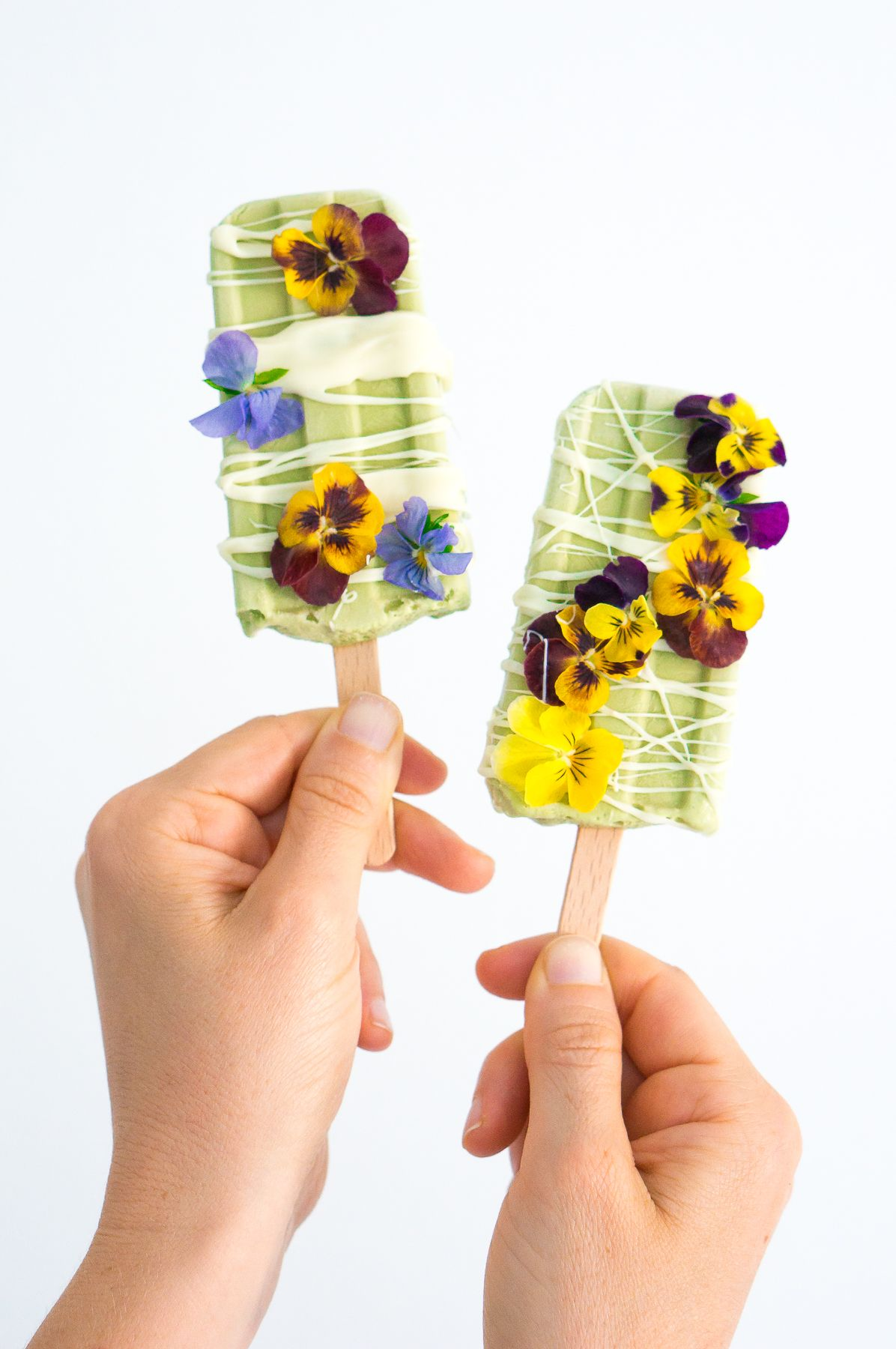 White Chocolate Basil Popsicles With Edible Flowers Vegan Gluten