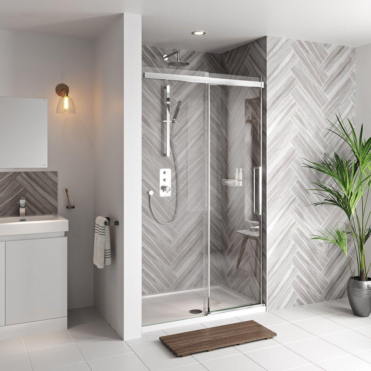 Mode Foster Stainless Steel Sliding Shower Door 1200mm In 2020 Shower Doors Shower Sliding Glass Door Frameless Sliding Shower Doors