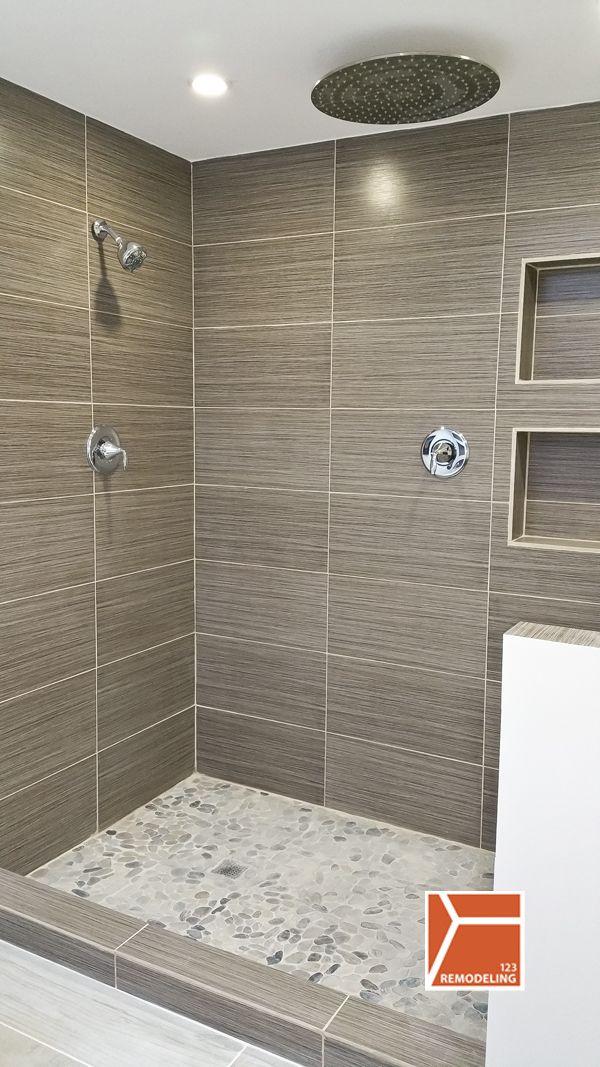 Skokie Bathroom Gut Remodel Bagni Pinterest Waterfall Shower - Small bathroom remodel tub to shower